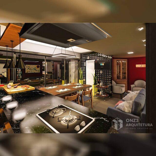 Projeto de interiores, Ed. Sovrano - Passo Fundo / RS . . Área gourmet com uma decoração rústica e com cores vivas deixando  ambiente descontraído e aconchegante. . . #arquitetura #interiores #onz3arquitetura  #areagourmet #decoração #projeto #churrasqueira #arquitetura #architecture #projetodeinteriores